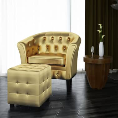 vidaXL Tub Chair with Footrest Gold Faux Leather[1/3]