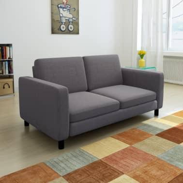 vidaXL Sofa 2-Seater Fabric Dark Gray[1/5]