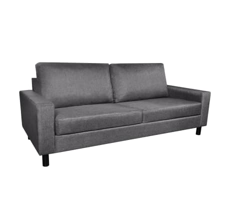 vidaXL Sofa 3-Seater Fabric Dark Gray[2/5]
