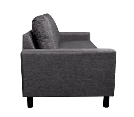 vidaXL Sofa 3-Seater Fabric Dark Gray[3/5]