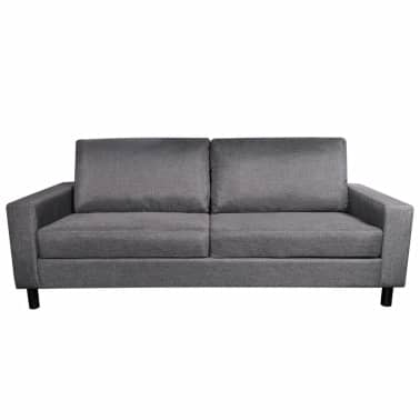 vidaXL Sofa 3-Seater Fabric Dark Gray[5/5]