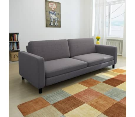vidaXL Sofa 3-Seater Fabric Dark Gray[1/5]