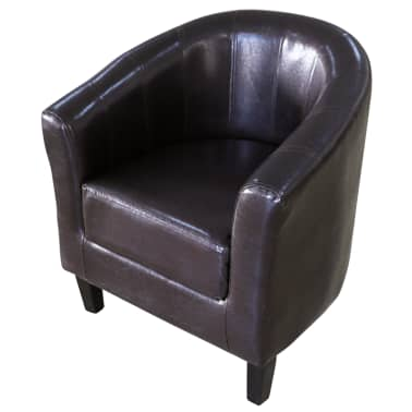 Brown Artificial Leather Tub Chair[1/4]
