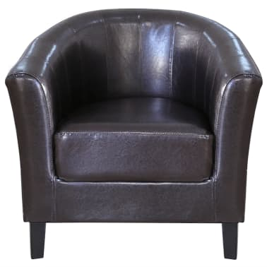 Brown Artificial Leather Tub Chair[2/4]