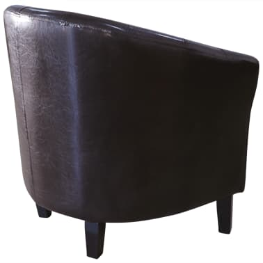 Brown Artificial Leather Tub Chair[3/4]