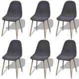 vidaXL Tmavo šedé látkové kuchyské stoličky bez opierok, železné nohy, 6 ks (242090 + 242091)
