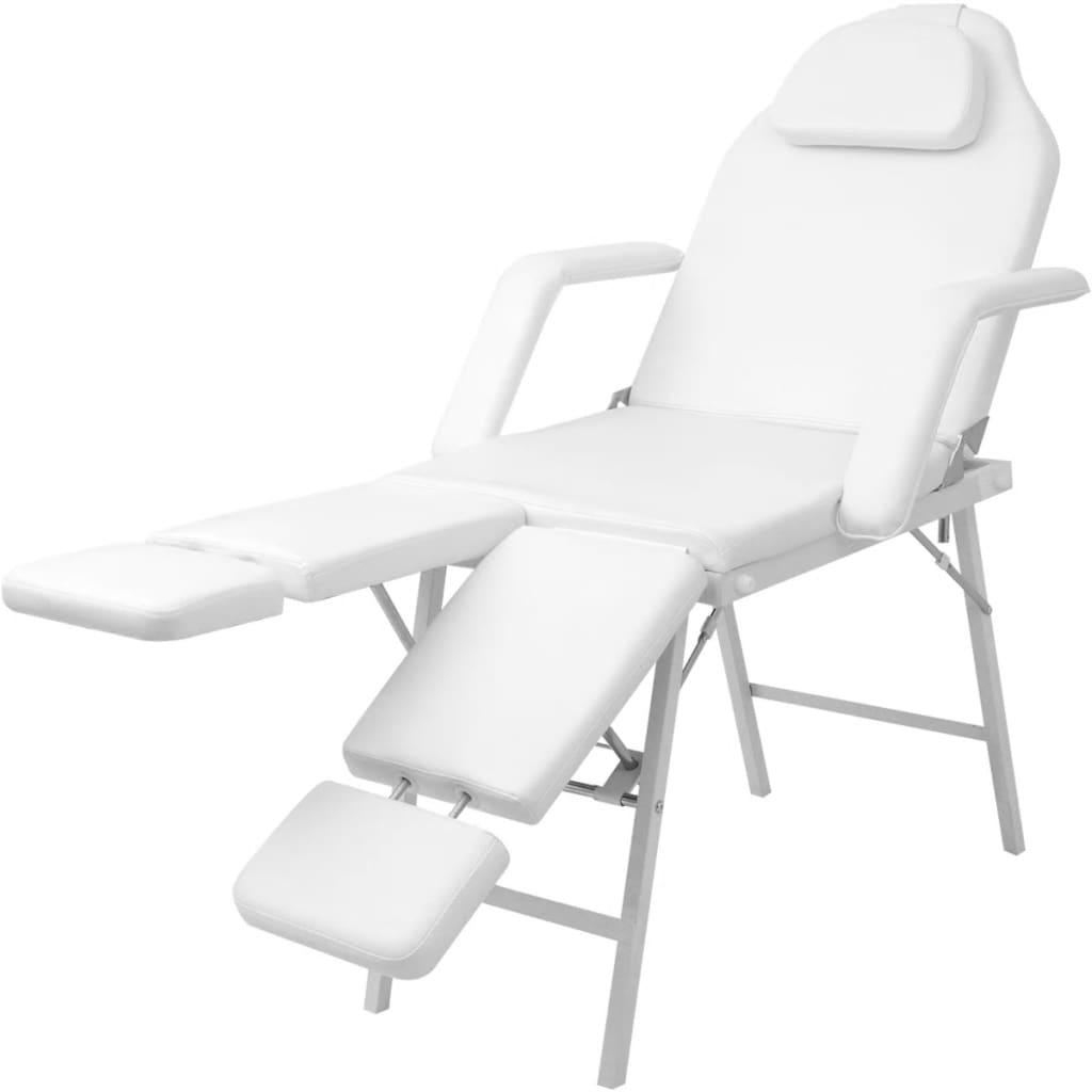 vidaXL Scaun/pat pentru masaj facial din piele artificială, Alb vidaxl.ro