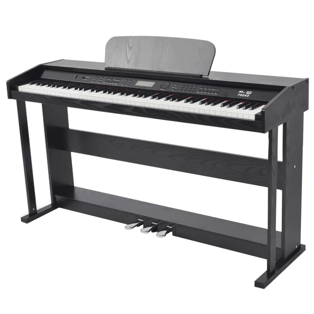 vidaXL 88klávesové digitální piano s pedály, černé melaminové desky