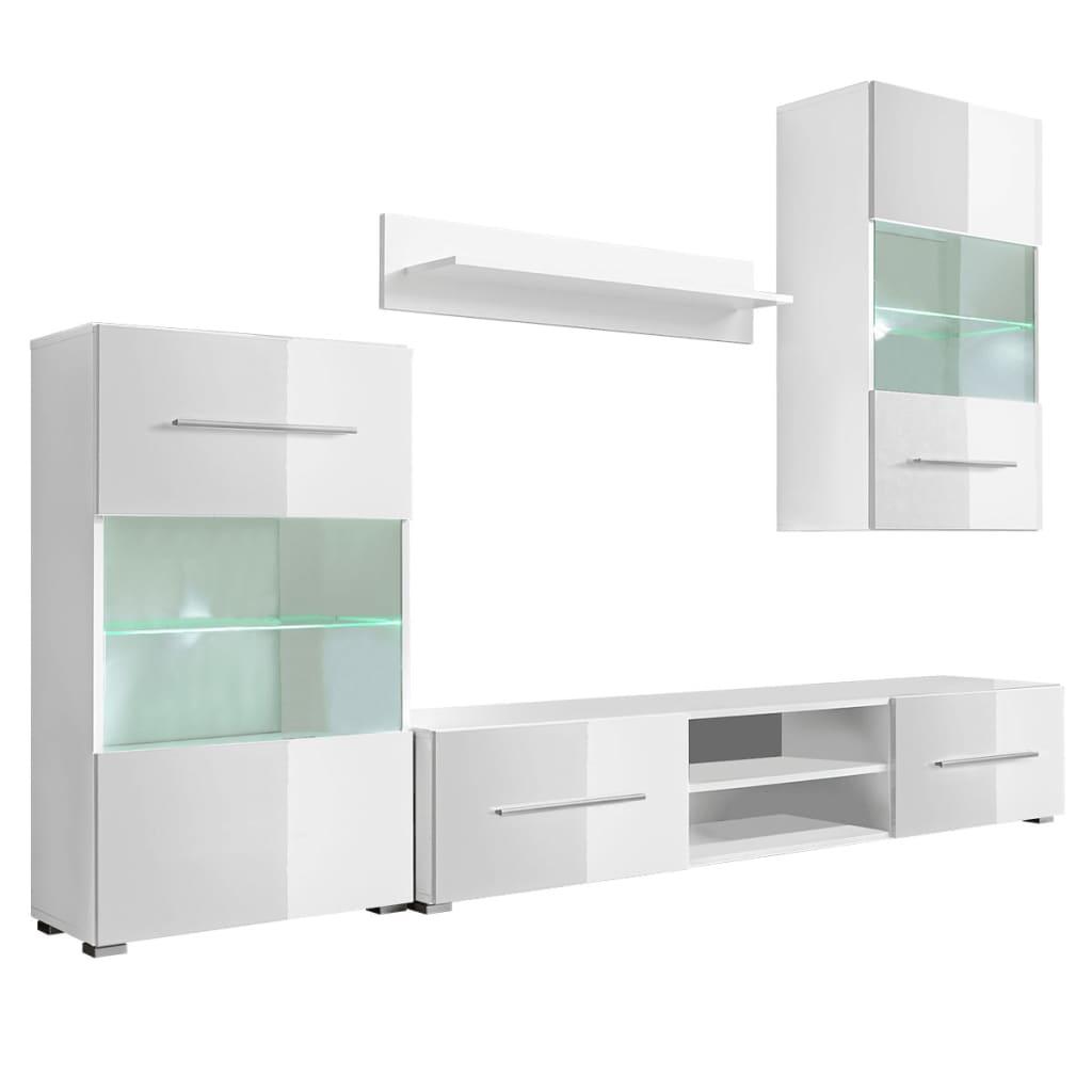 Bild von vidaXL Hochglanz Wohnwand Anbauwand TV-Möbel mit LED-Beleuchtung weiß 4-tlg.
