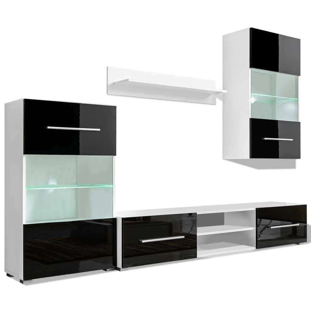 Bild von vidaXL Hochglanz Wohnwand Anbauwand TV-Möbel + LED-Beleuchtung schwarz 4-tlg.