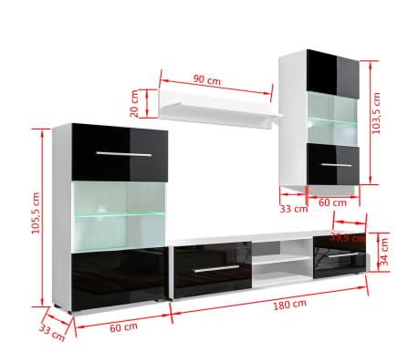 Hochglanz Wohnwand Anbauwand TV-Möbel + LED-Beleuchtung schwarz 4 ...