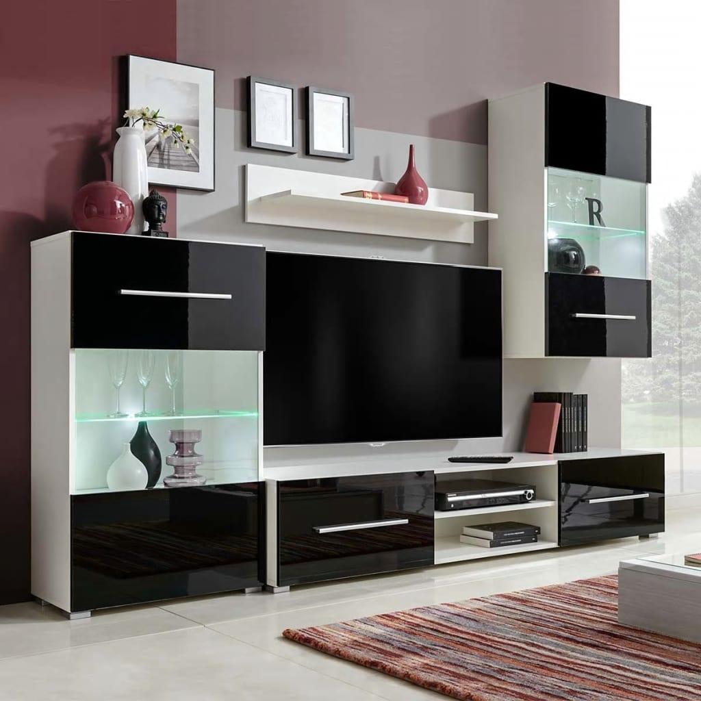 4 ks Černá vysoce lesklá obývací stěna Vitríny LED osvětlení TV stolek