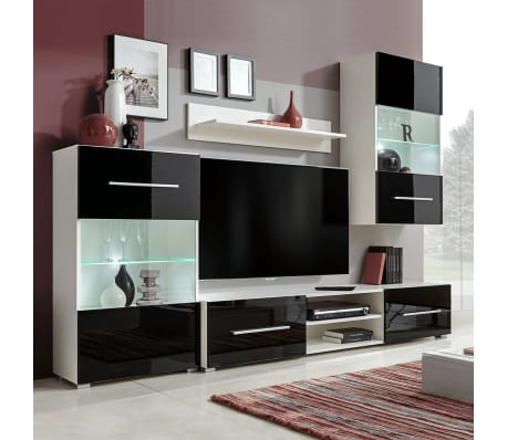 acheter meuble tv vitrine murale avec lumi re led 4 pi ces noir pas cher. Black Bedroom Furniture Sets. Home Design Ideas