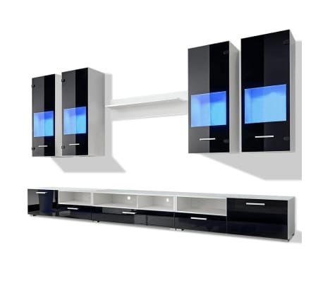 acheter meuble tv vitrine murale noir avec lumi re led bleu 8 pi ces pas cher. Black Bedroom Furniture Sets. Home Design Ideas