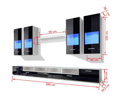 Hochglanz Wohnwand Anbauwand TV Möbel Blaue LED Lichter 8tlg. Schwarz[10/