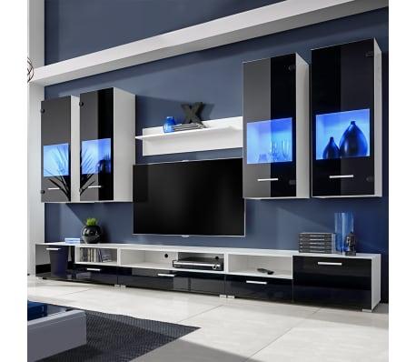 Hochglanz Wohnwand Anbauwand TV Möbel Blaue LED Lichter 8tlg. Schwarz[1/