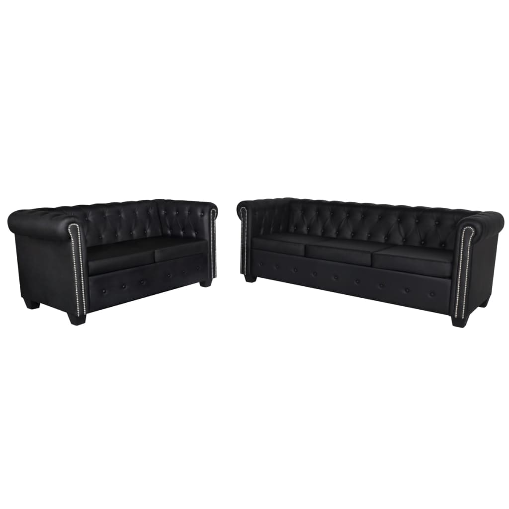 Canapé 3 places Noir Cuir Luxe Chesterfield Confort