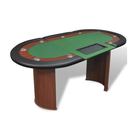 vidaXL 10-Player Poker Table with Dealer Area and Chip Tray Green