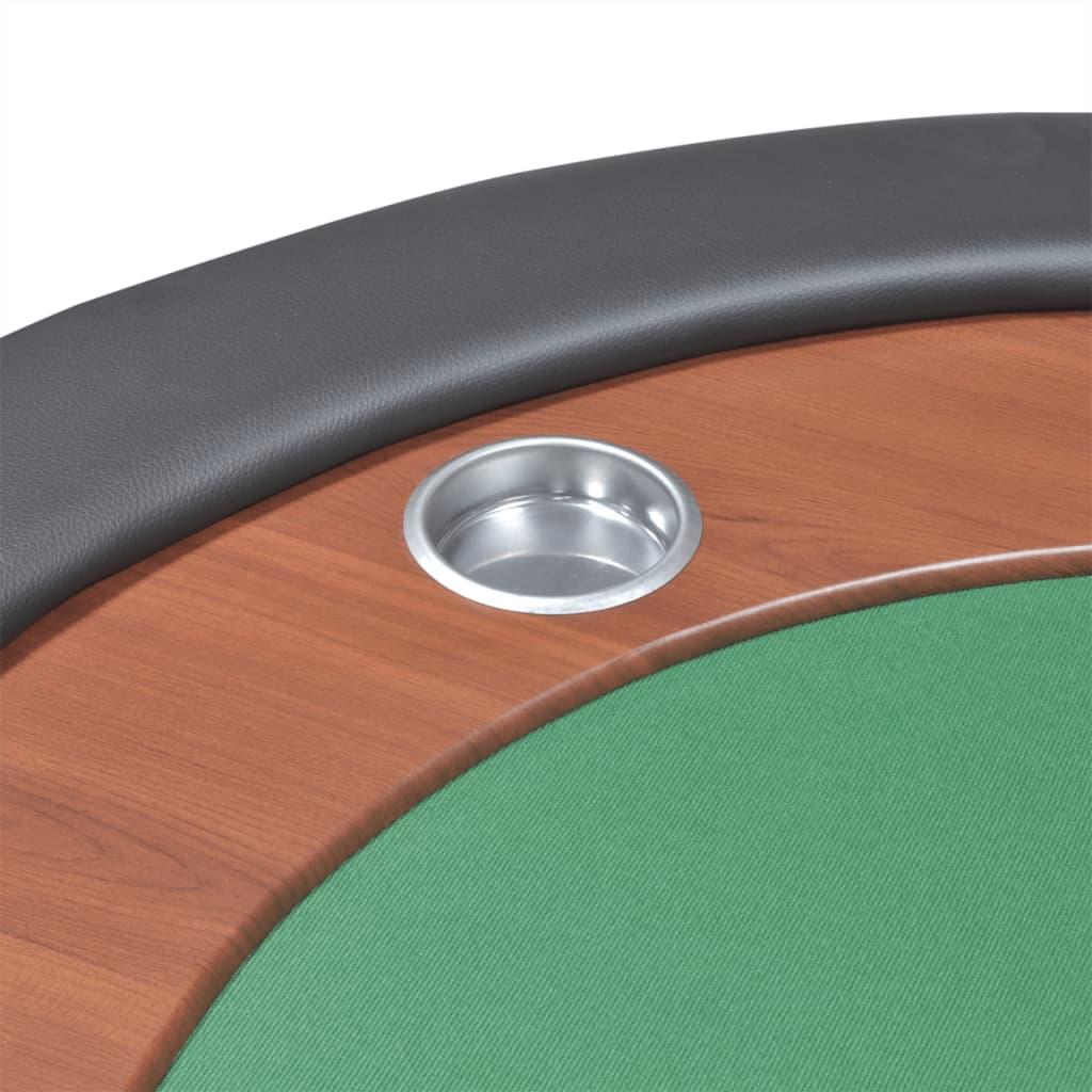 vidaXL Stol za Poker za 10 Igrača s Prostorom za Djelitelja i Držačem Žetona Zeleni