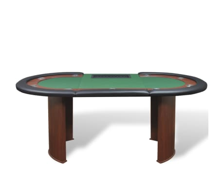vidaXL 10-Player Poker Table with Dealer Area and Chip Tray Green[3/9]