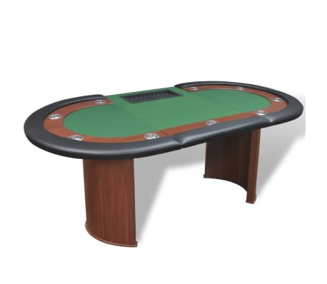 vidaXL 10-Player Poker Table with Dealer Area and Chip Tray Green[4/9]