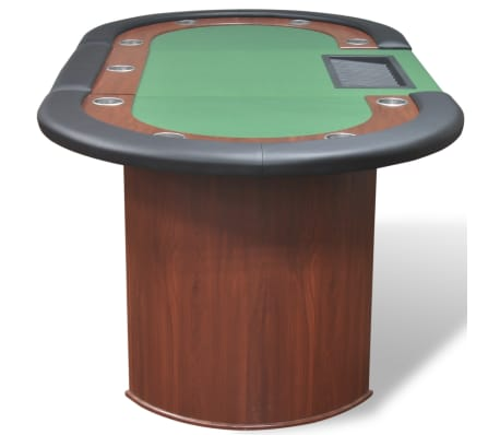 vidaXL 10-Player Poker Table with Dealer Area and Chip Tray Green[5/9]