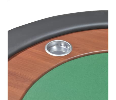 vidaXL 10-Player Poker Table with Dealer Area and Chip Tray Green[8/9]