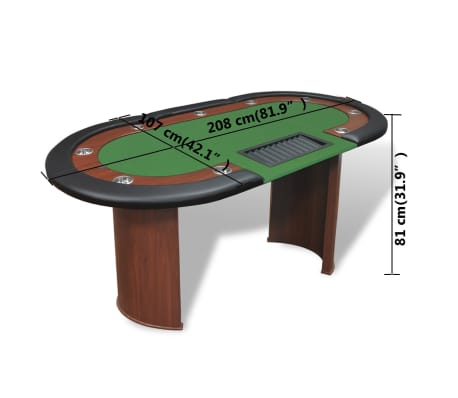 vidaXL 10-Player Poker Table with Dealer Area and Chip Tray Green[9/9]