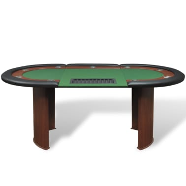 vidaXL 10-Player Poker Table with Dealer Area and Chip Tray Green[2/9]