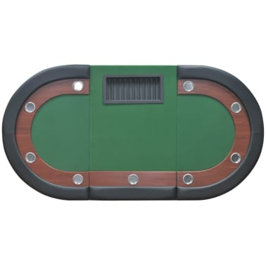 vidaXL 10-Player Poker Table with Dealer Area and Chip Tray Green[6/9]