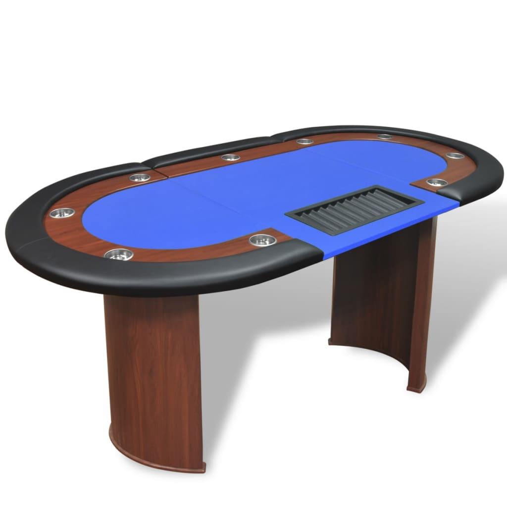 Pokerový stůl pro 10 hráčů, zóna pro dealera + držák na žetony, modrý
