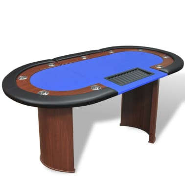 VidaXL 10 Player Poker Table With Dealer Area And Chip Tray Blue[1/