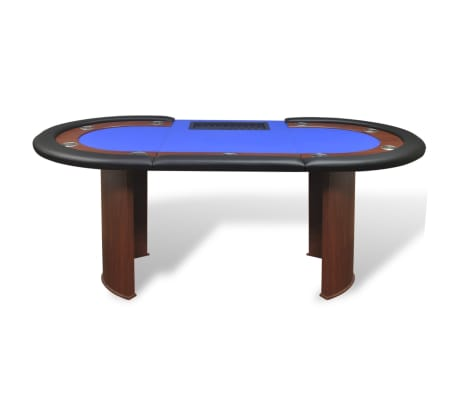 vidaXL 10-Player Poker Table with Dealer Area and Chip Tray Blue[3/9]