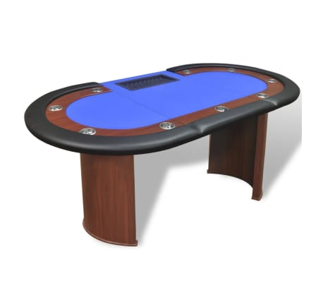 vidaXL 10-Player Poker Table with Dealer Area and Chip Tray Blue[4/9]