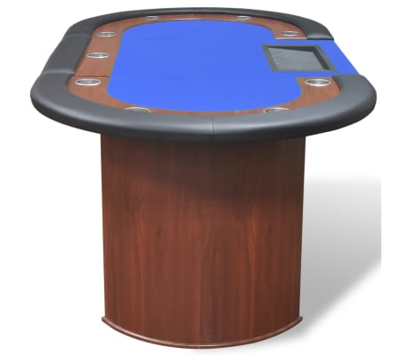 vidaXL 10-Player Poker Table with Dealer Area and Chip Tray Blue[5/9]