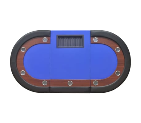 vidaXL 10-Player Poker Table with Dealer Area and Chip Tray Blue[6/9]