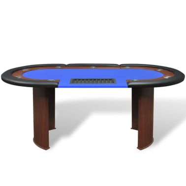 vidaXL 10-Player Poker Table with Dealer Area and Chip Tray Blue[2/9]