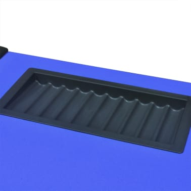 vidaXL 10-Player Poker Table with Dealer Area and Chip Tray Blue[7/9]