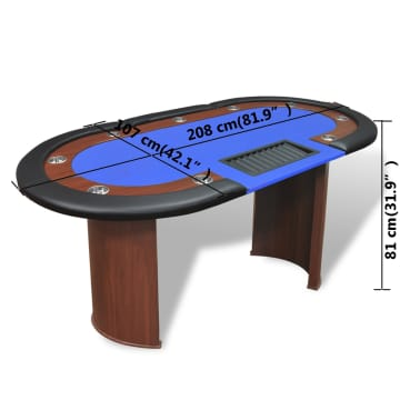 vidaXL 10-Player Poker Table with Dealer Area and Chip Tray Blue[9/9]