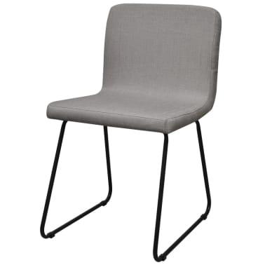 6 sillas de comedor de tela gris claro con patas de acero - Sillas comedor grises ...