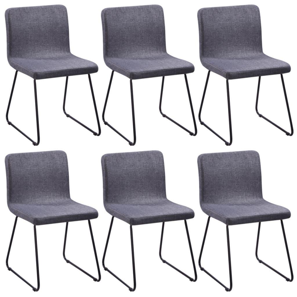 6 jídelních židlí tmavě šedých, látkové čalounění a železné nohy