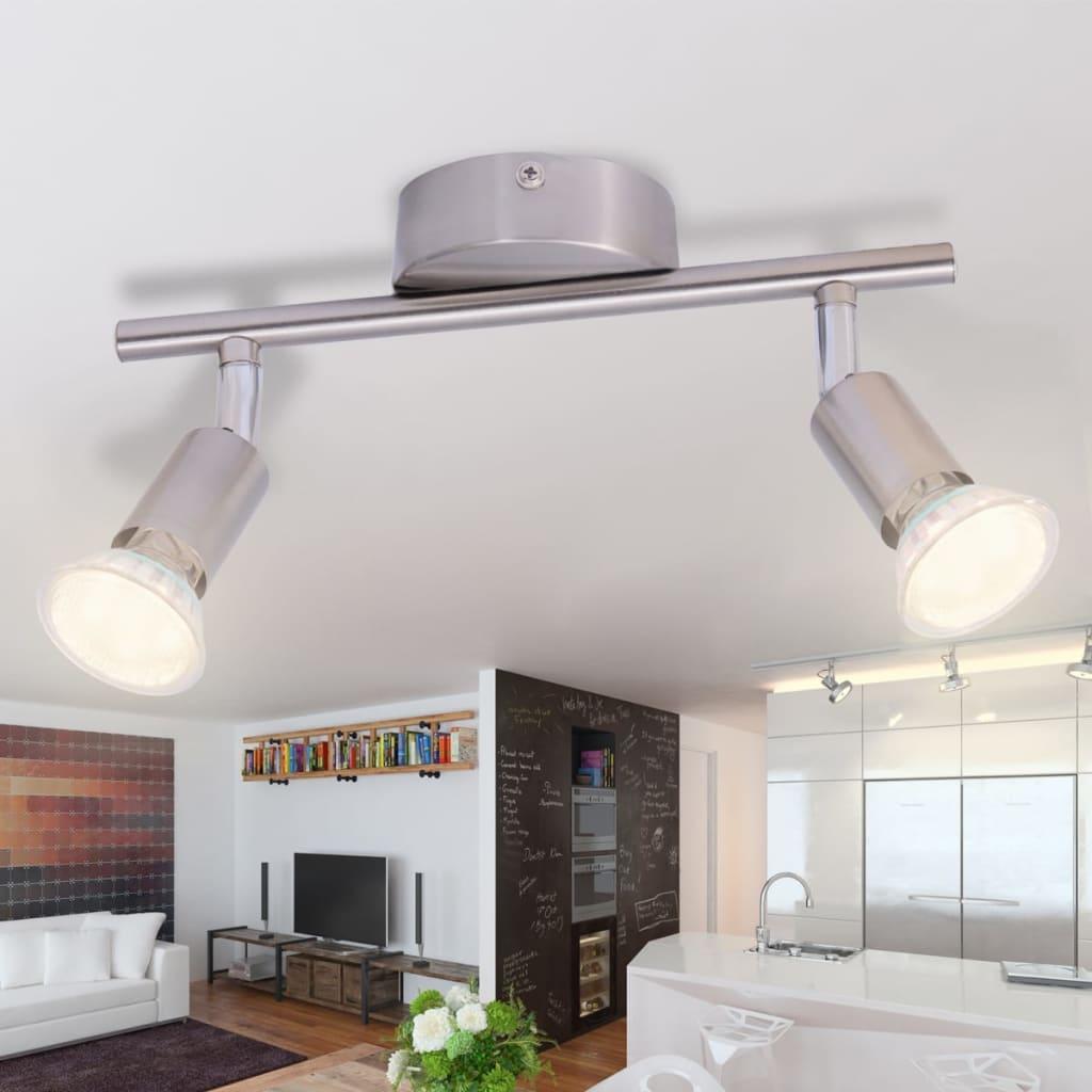 vidaXL Stropní svítidlo se 2 LED bodovkami, saténový nikl