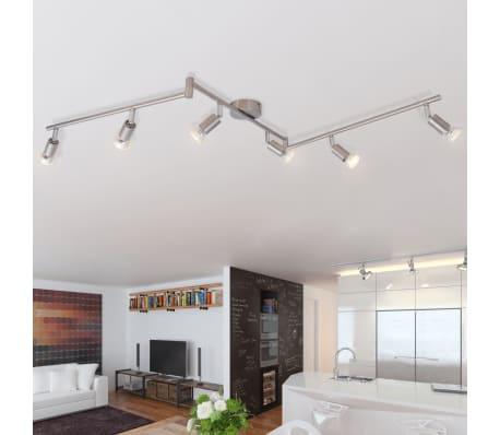 vidaXL Lubų Šviestuvas su 6 LED Lemputėmis, Glotnus Nikelis[1/9]