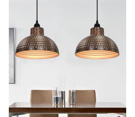 vidaXL lámparas colgantes de techo semiesféricas color cobre 2 uds[2/10]