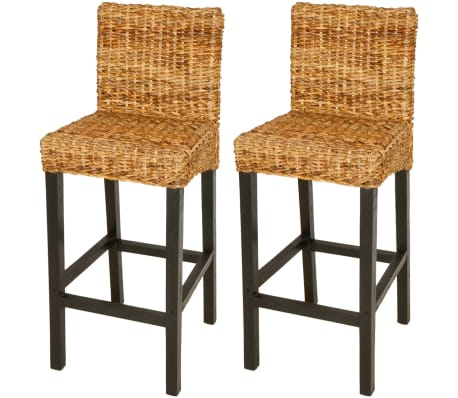 vidaXL Bar Stool 2 pcs Abaca Brown[1/5]