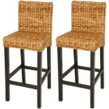 vidaXL Bar Stool 2 pcs Abaca Brown