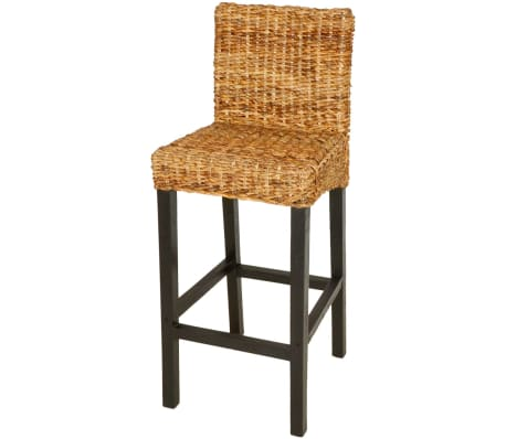 vidaXL Bar Stool 2 pcs Abaca Brown[2/5]