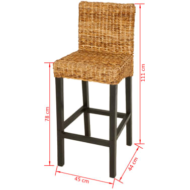 vidaXL Bar Stool 2 pcs Abaca Brown[5/5]