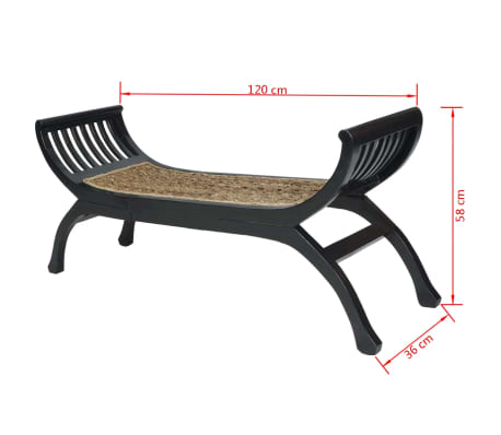 vidaXL Bench Abaca Brown[4/4]