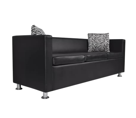Artificial Leather 3-Seater Sofa Black[2/5]